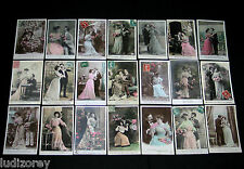 LOT B77 : 21 CPA FANTAISIE COUPLE MISS SEXY JOLIE ROBE PIN-UP CHARME GLAMOUR
