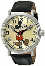 """Disney Men's 56109 """"""""Vintage Mickey Mouse"""""""" Watch with Black Leather Band"""