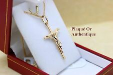 pendentif crucifix jesus sur la croix en plaqué or vrai avec chaine + ecrin neuf