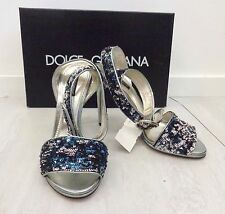 NWB $561 DOLCE & GABBANA Silver Leather Metallic/Sequin Heels Size 39 US 8.5/9