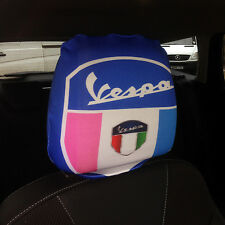 CAR SEAT HEAD REST COVERS 2 PACK VESPA SHIELD PINK BLUE DESIGN MADE IN YORKSHIRE