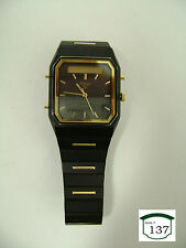 Vintage PULSAR Men's Quartz Watch in Black & Gold - V031-5090R1 - Pre-Owned