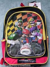 MARIO Kart KS NeW Backpack LUIGI Wario Full Size Canvas Book Bag 16x12 +1 FOLDER