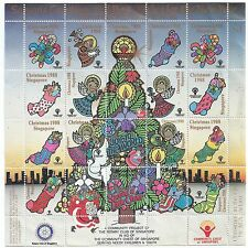 1988 Community Chest of Singapore  Christmas Greeting Stamps sheet sticker