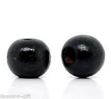 200 Black Dyed Round Wood Spacer Beads 10x9mm