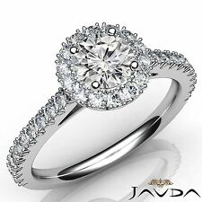 Round Diamond Engagement GIA F VS2 French Cut Pave Set Ring 18k White Gold 1.5Ct