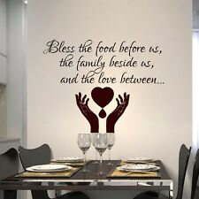 Quote Wall Decals Prayer Bless the food before Decal Vinyl Sticker Bedroom MN457