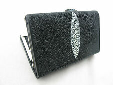 Genuine Stingray Skin Leather Trifold Women Clutch Wallet Black + Free Shipping