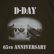 D-Day 65th Anniversary Army Green T-SHIRT Normandy  LARGE    FREE SHIPPING