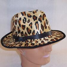 NEW Yellow Leopard Velvet Fedora Zoot Suit Pimp Hat