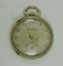 ANTIQUE 1930s BULOVA 17AE 15 JEWELS GOLD FILLED POCKET WATCH 42 mm * WORKING