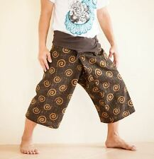 Capri Premium Cotton Yoga Fisherman Pants Hippie Summer Trousers Swirls Brown