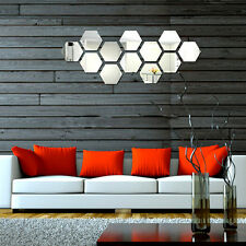 Modern 12pcs 3D Mirror Geometric Hexagon Acrylic Wall Sticker DIY Art Decor New