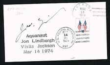 Jon Lindbergh signed autograph Postal Cover One of World's Earliest Aquanauts
