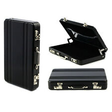 Metal Mini Briefcase Suitcase Business Bank Card Name Card Holder Case Box Black
