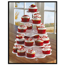 5 Tier White Plastic Cupcake Holder Display Stand Tower Wedding Birthday Decor