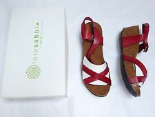 Lola Sabbia Amy Red T Strap Wedge Sandal 40 9 Eric Michael Womens Shoes NEW $99