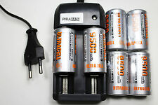 CHARGEUR RS08 + 6 BATTERIE PILE C R14 LR14 9500mAh RECHARGEABLE 1.2V Ni-MH ACCU