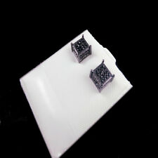 Men's Women's Black Gold Finish Black Simulate cz Cube Stud Earring 6x6m
