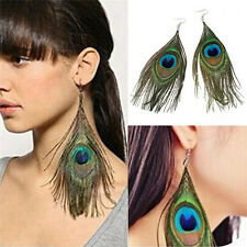 Women New Style Assorted Color Peacock Natural Feather Earrings Drop Earrings DS