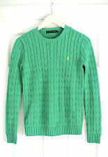 Ralph Lauren Green Cable Knit Yellow Logo Jumper Size S Small 8-10 Worn Once