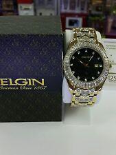 Elgin FG-1509 Men's Black round analog Date white crystal gold tone watch Japan