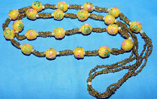 VINTAGE BEAUTIFUL MURANO WEDDING CAKE ART GLASS YELLOW BEADS NECKLACE