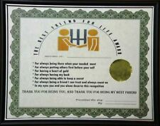 The Best Friend for life Award funny touching Parchment Sign Adult  FRAMED