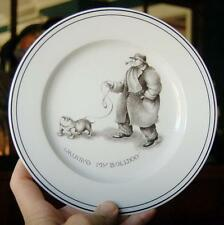 """NEIMAN MARCUS EXCLUSIVE LIMOGES FRANCE """"WALKING MY BULLDOG"""" CABINET PLATE"""
