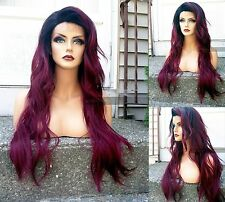 USA // HEAT OK Burgundy Wine Red LACE FRONT SKIN PART Curly Dark Roots Wig