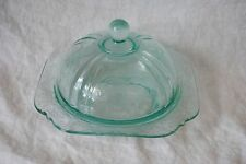 Vintage Blue Madrid Depression Glass Butter Dish, Indiana Glass Company