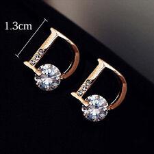 Fashion Women Lady Crystal Rhinestone Letter D Earrings Ear Stud 1Pair Jewelry