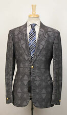 New. VERSACE MAINLINE COUTURE Gray Jacquard Wool 2 Button Suit 50/40 R $3995
