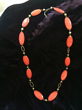 VINTAGE STUNNING CORAL COLOURED FACETED BEADS NECKLACE ON GOLD BALLS CHAINS VGC