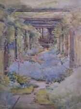 WATERCOLOUR PAINTING 1950s by A.LEWIS A STUDY OF A GARDEN PATH