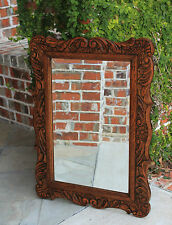 Antique French Carved Oak Louis XV Style Rococo Framed Beveled Wall Mirror