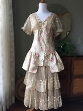 20s Dress French Net Tambour Lace Watercolor Silk 1900s Antique Robe De Style