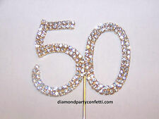 Rhinestone 50th Birthday Gold Anniversary Number Cake Cupcake Topper Decoration