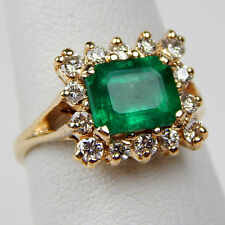 Natural Emerald & Diamond Halo Style Ring 14 kt Yellow Gold Size 5 3/4 #A1381