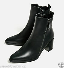 ZARA BLACK REAL LEATHER  POINTED CHELSEA ANKLE BOOTS WITH ZIP 5  38 7.5  new