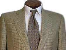 $1895 Hickey Freeman Tan / Olive Houndstooth Sport Coat 40 40R C073