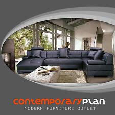 Contemporary Italian Design Black Sectional Sofa w/ Adjustable Headrest - Chaise