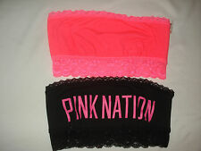 Lot of 2 Victoria Secret PINK Bra Lace Bandeaus Bralette Pink Black Medium NEW