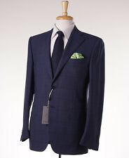 NWT $2095 CANALI 1934 Blue Windowpane Check Wool Suit 38 R (Eu 48) Classic-Fit