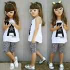 Baby Dress Kids Girls Clothes Toddler Baby Tops+Leopard Pants Outfits Set FT2017