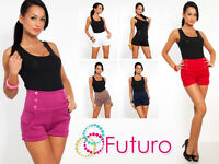 Trendy High Waist Shorts Pants With Buttons And Pockets Sizes 8-18 PA08