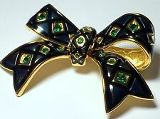 Joan Rivers Bow Emerald Green Crystals Rhinestones Black Enamel Plaid Brooch Pin