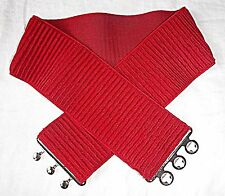 80S  RED BELT M STRETCH RIBBED EXTRA WIDE SILVER METAL CLASP STEAM PUNK GOTH