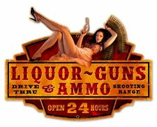 Liquor Guns Ammo Plasma Cut Pistole Pin Up Retro Sign Blechschild Schild Groß