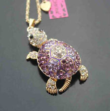 647Z    Betsey Johnson Crystal shiny Turtle Pendant Sweater Chain Necklace